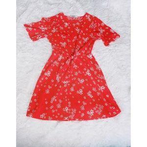 PULL&BEAR cute orange little flowers midi dress